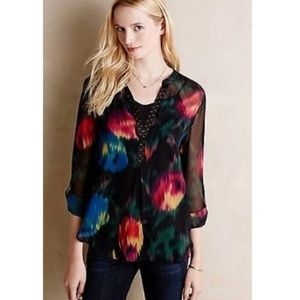 Anthropologie Tops - Tiny Anthropologie Tulipano Sheer Floral Blouse XS